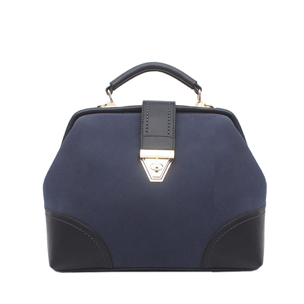 London Stlye Navy Nubuck Leather Handle Bag