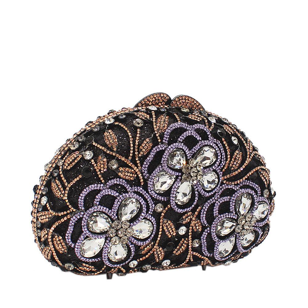 Black Mix 3-Petals Diamante Crystals Clutch Purse
