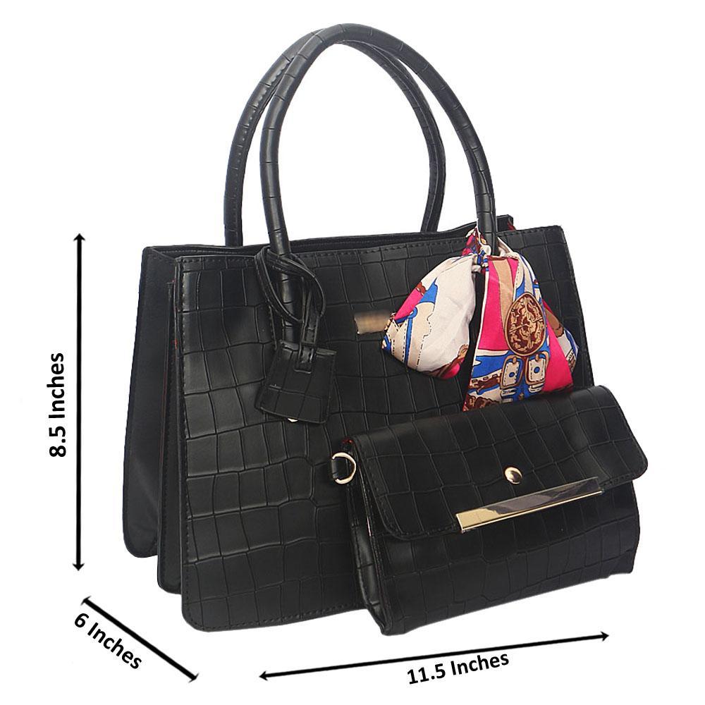 Black Smooth Lover Leather Tote Handbag