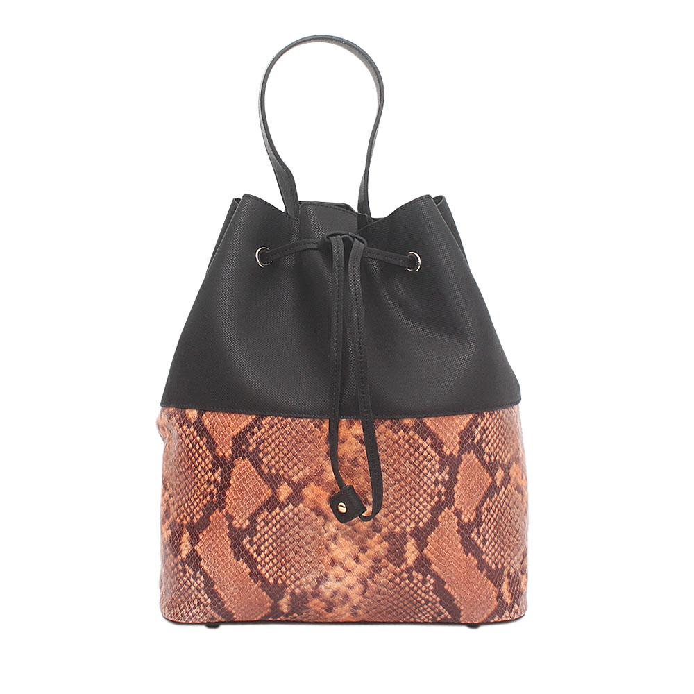 London Style Black Orange Leather Handbag