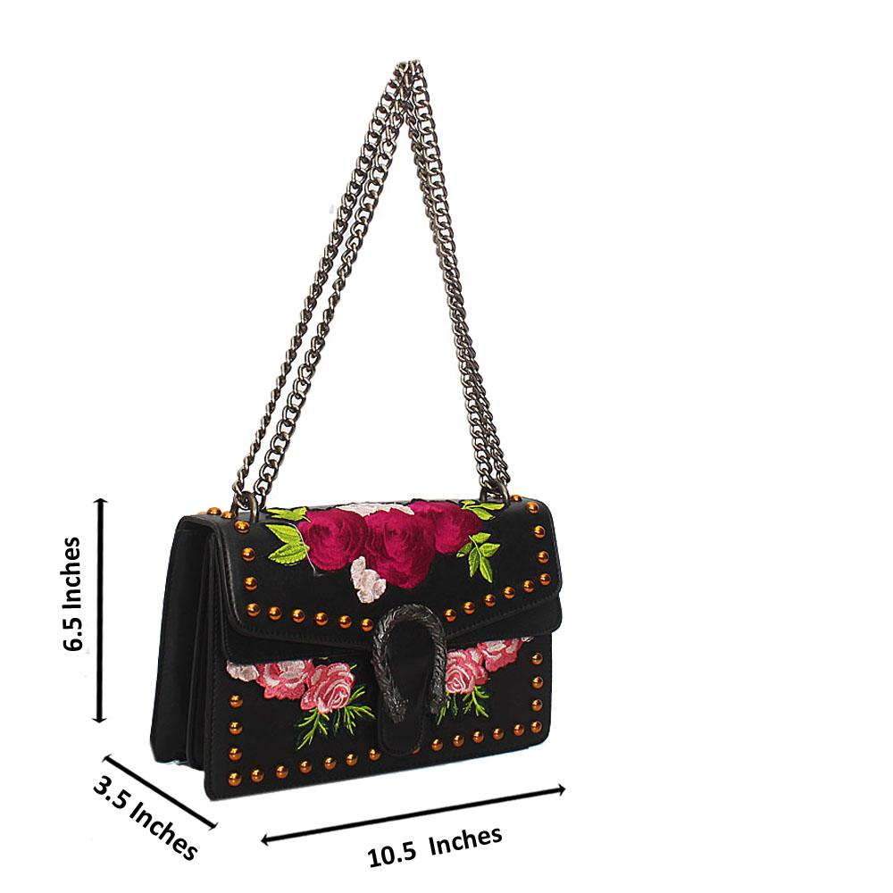 Black Flower Stud Leather Crossbody Handbag