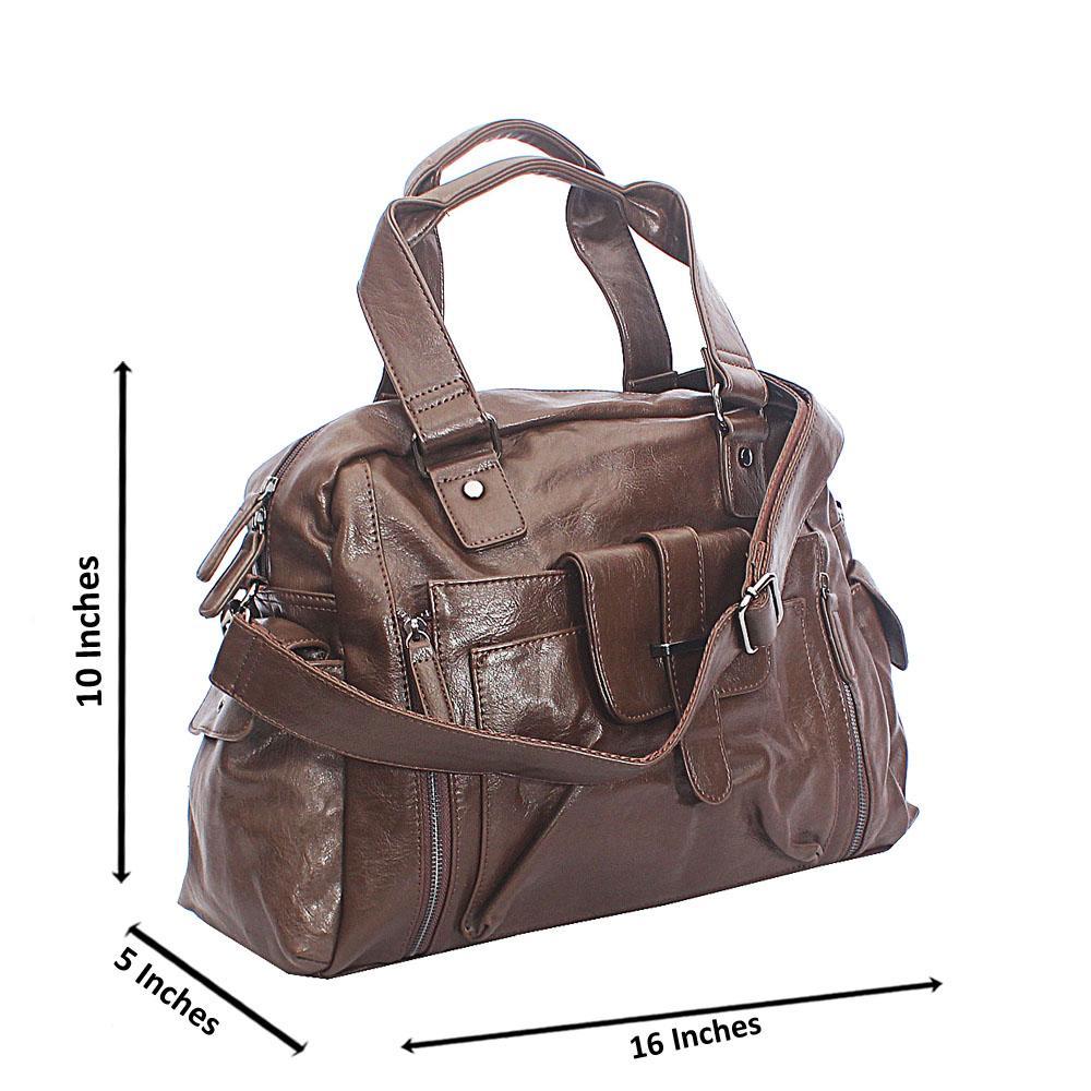 Caramelo Brown Center Pocket Cassania Leather Man Bag