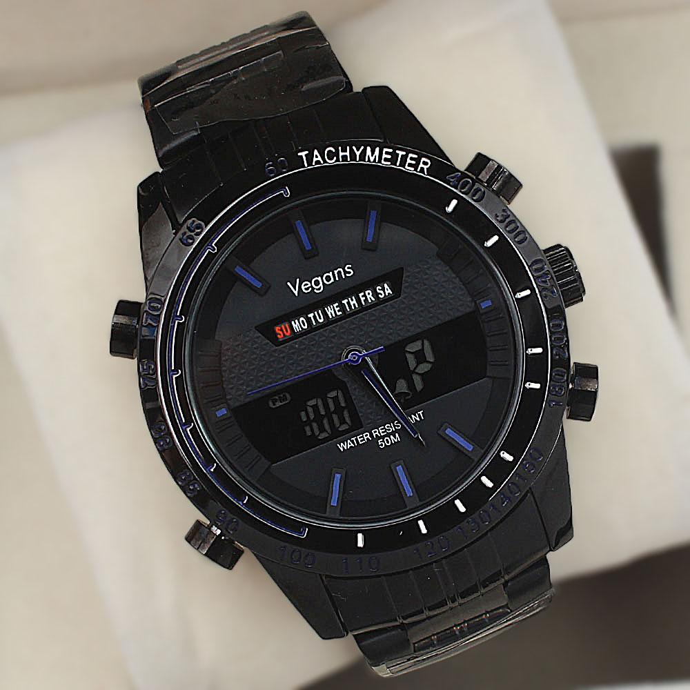 Vegans Black Stainless Steel 50M Blue-Dial Analog-Digital Watch