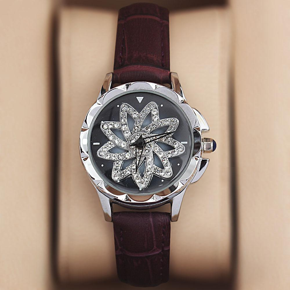 Silver Purple Crystal Studded Leather Spinners Ladies Watch