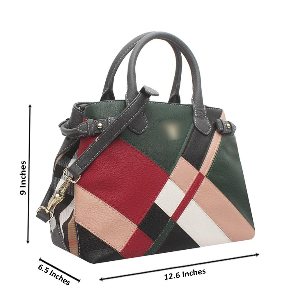 Baboli Grey Green Wine Leather Patchwork Bag