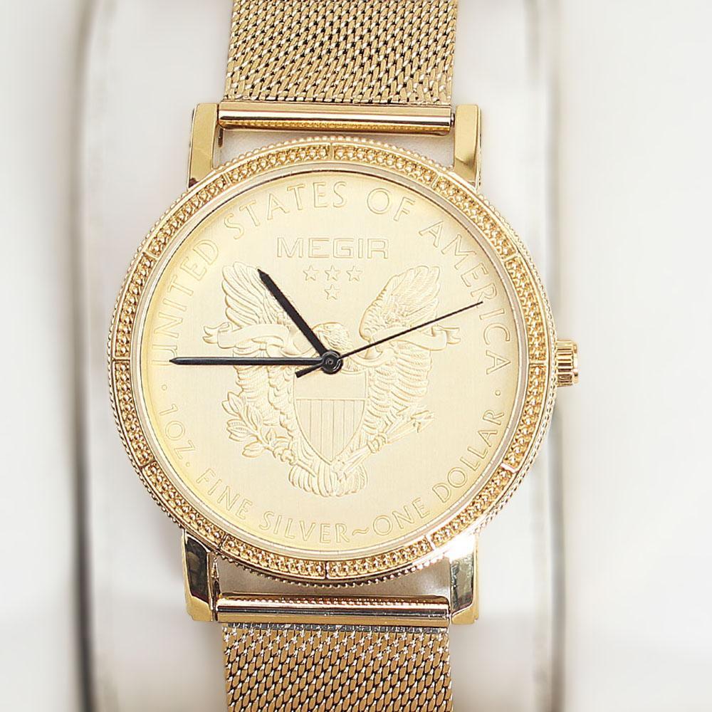 Megir Gold Mesh Watch