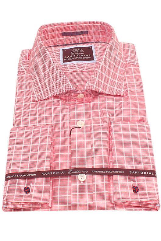 Sartorial Red Check 2 Fold Cotton Men Shirt