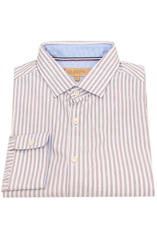 Collezione Brown White Stripe Tailored Fit Men Shirt