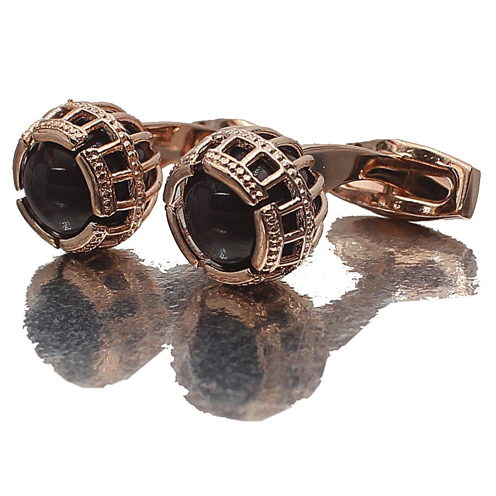 Rose Gold Precious Pearl Stainless Steel Cufflinks