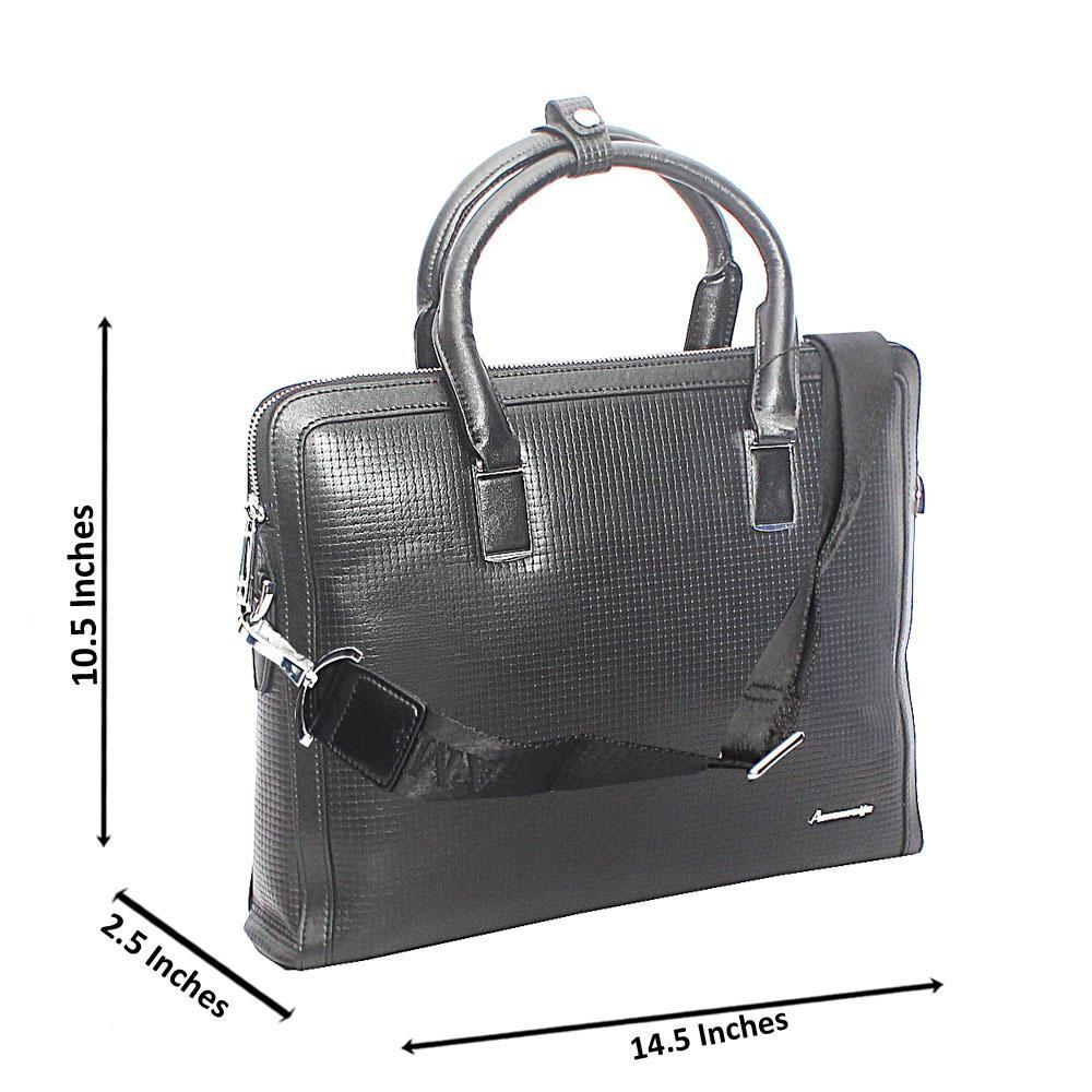 Black Woven Style Median Tote Man Bag