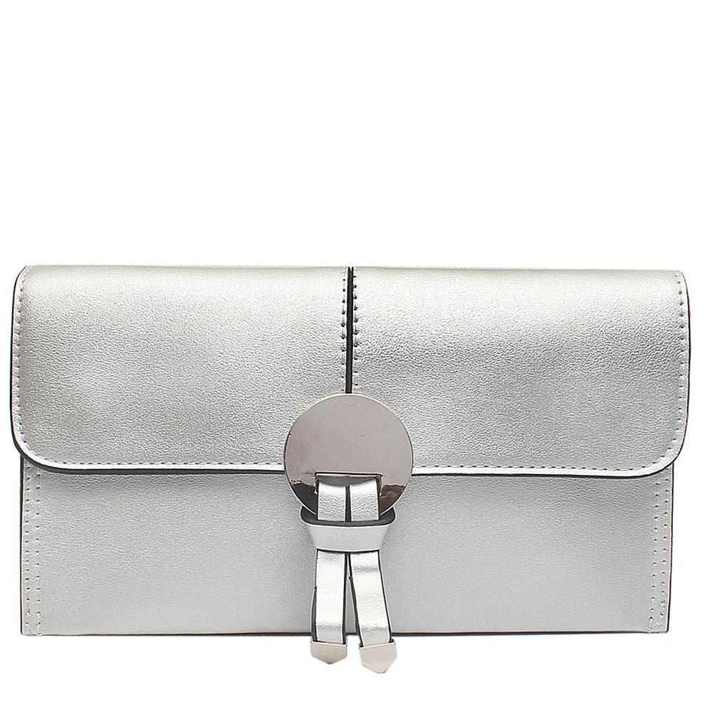 Silver Leather Flat Clutch