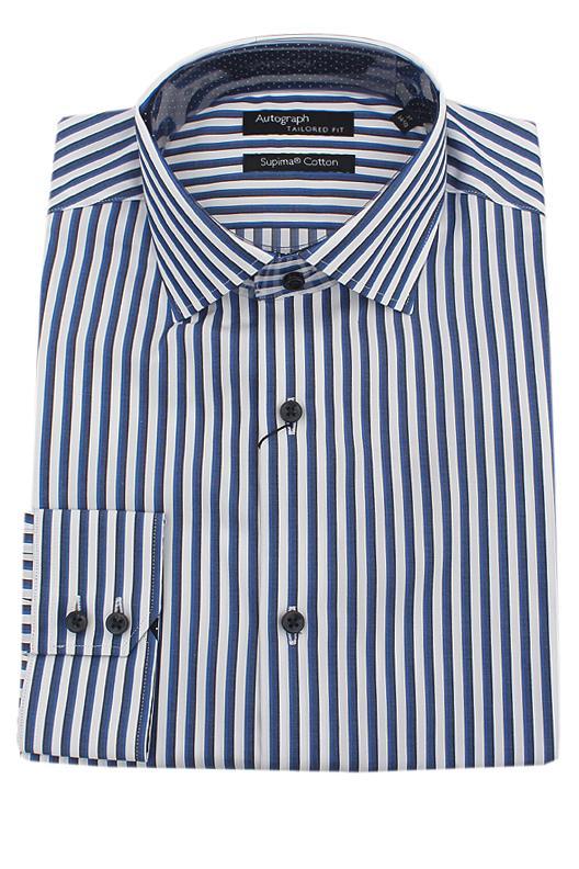 Autograph Blue White Striped Supima Cotton Tailored Fit L/Sleeve Men Shirt
