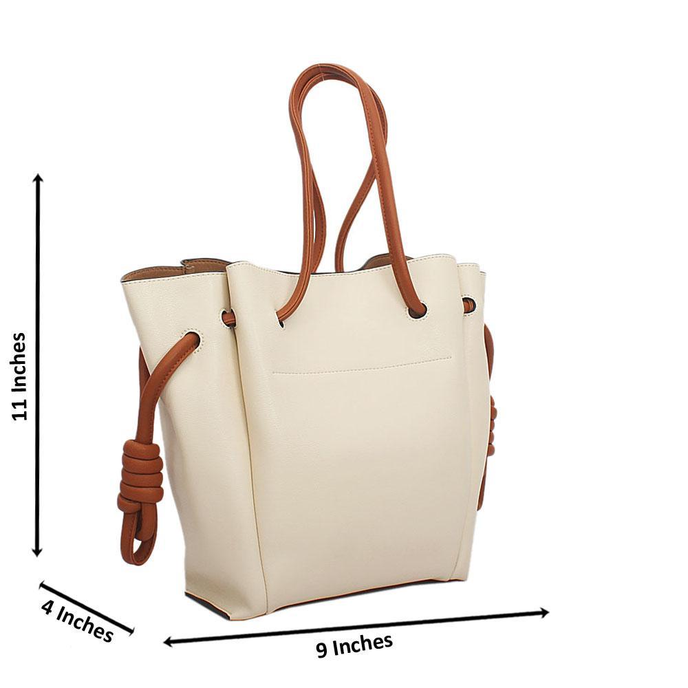 Cream Brown Cowhide Leather Drawstring Shoulder Handbag