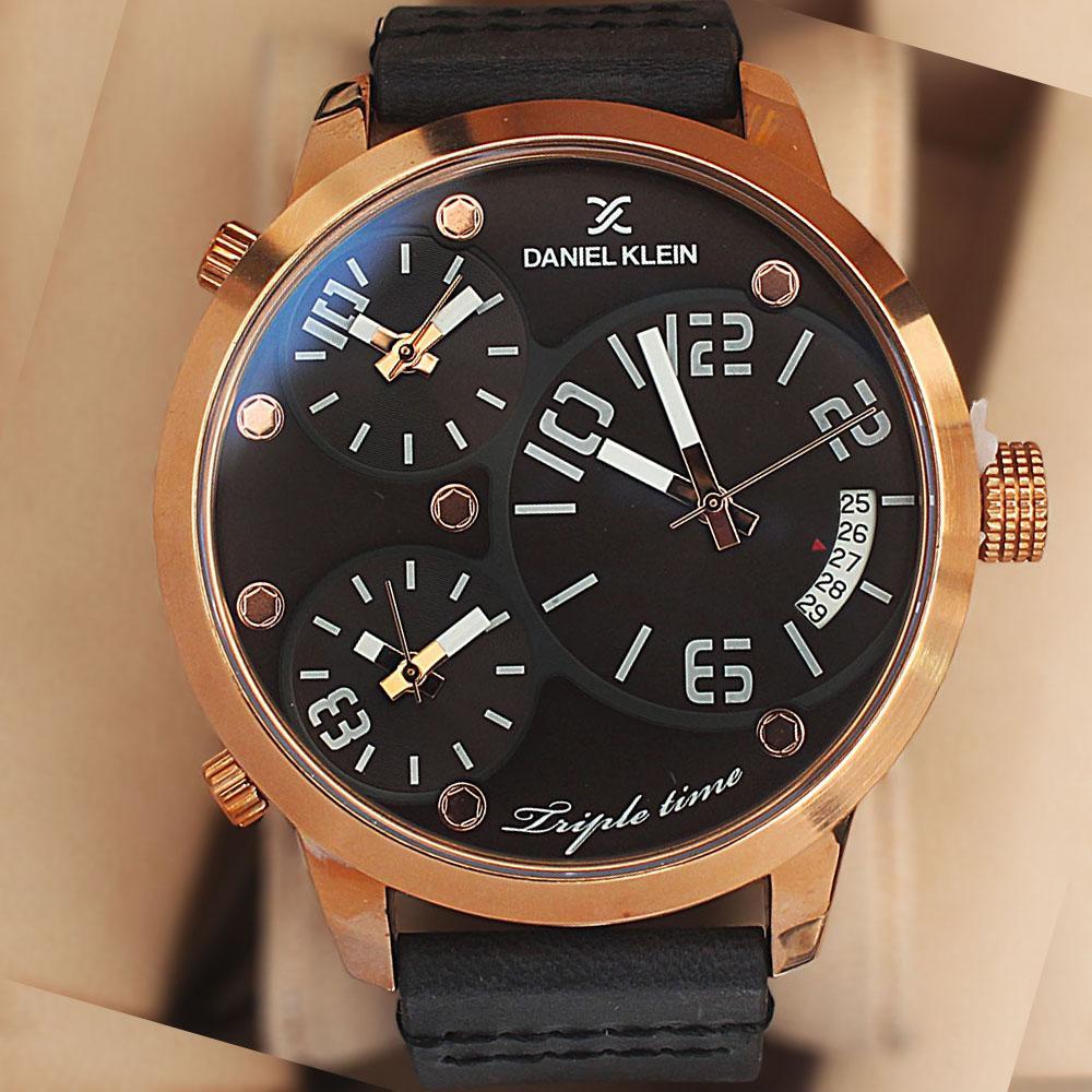 Daniel Klein Triple Time Black Leather Watch