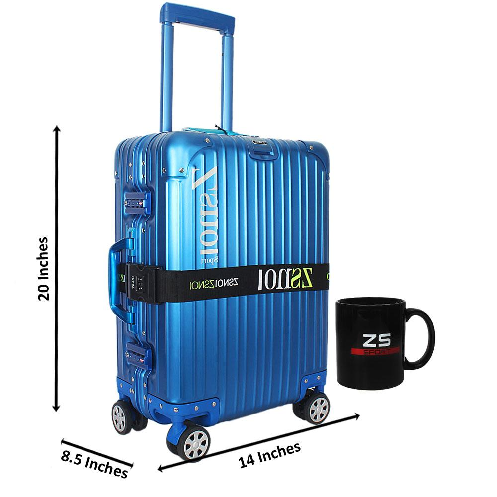 Blue World Traveller Aluminum 20 Inch Carry on Suitcase
