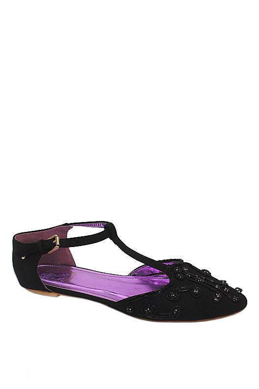 Dolce Vita Black Sequence Leather Studded Flat Shoe