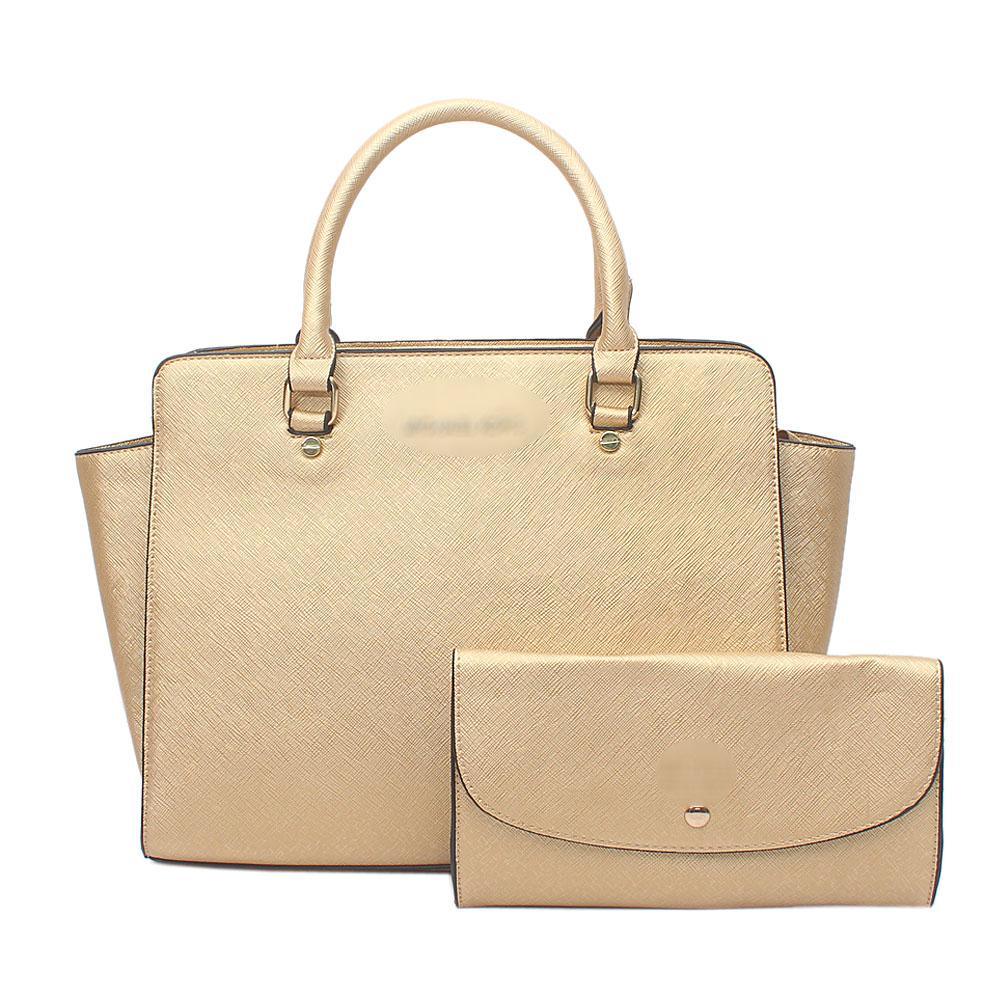 Gold Leather  Tote Bag Wt Purse