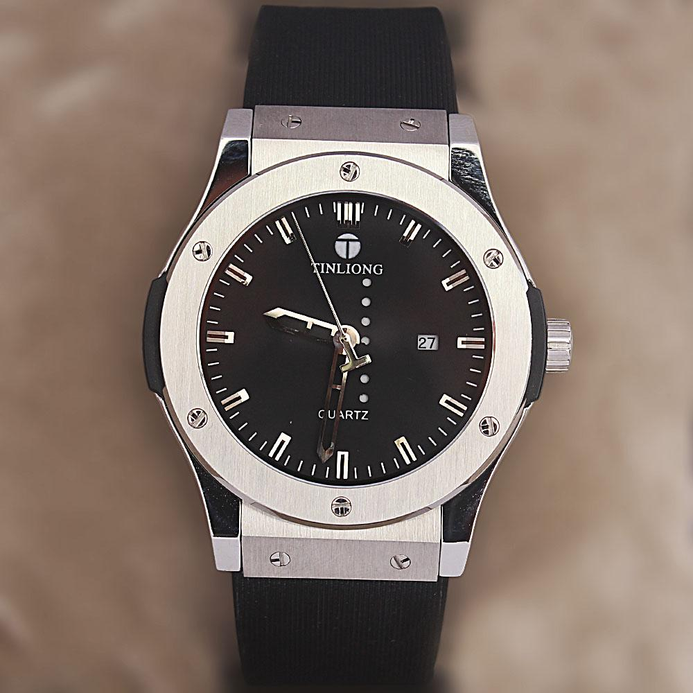 Classic  Fit Black Rubber Strap Watch
