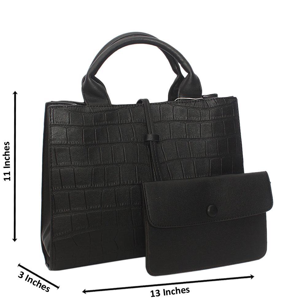 Black Adrian Croc Leather Tote Handbag