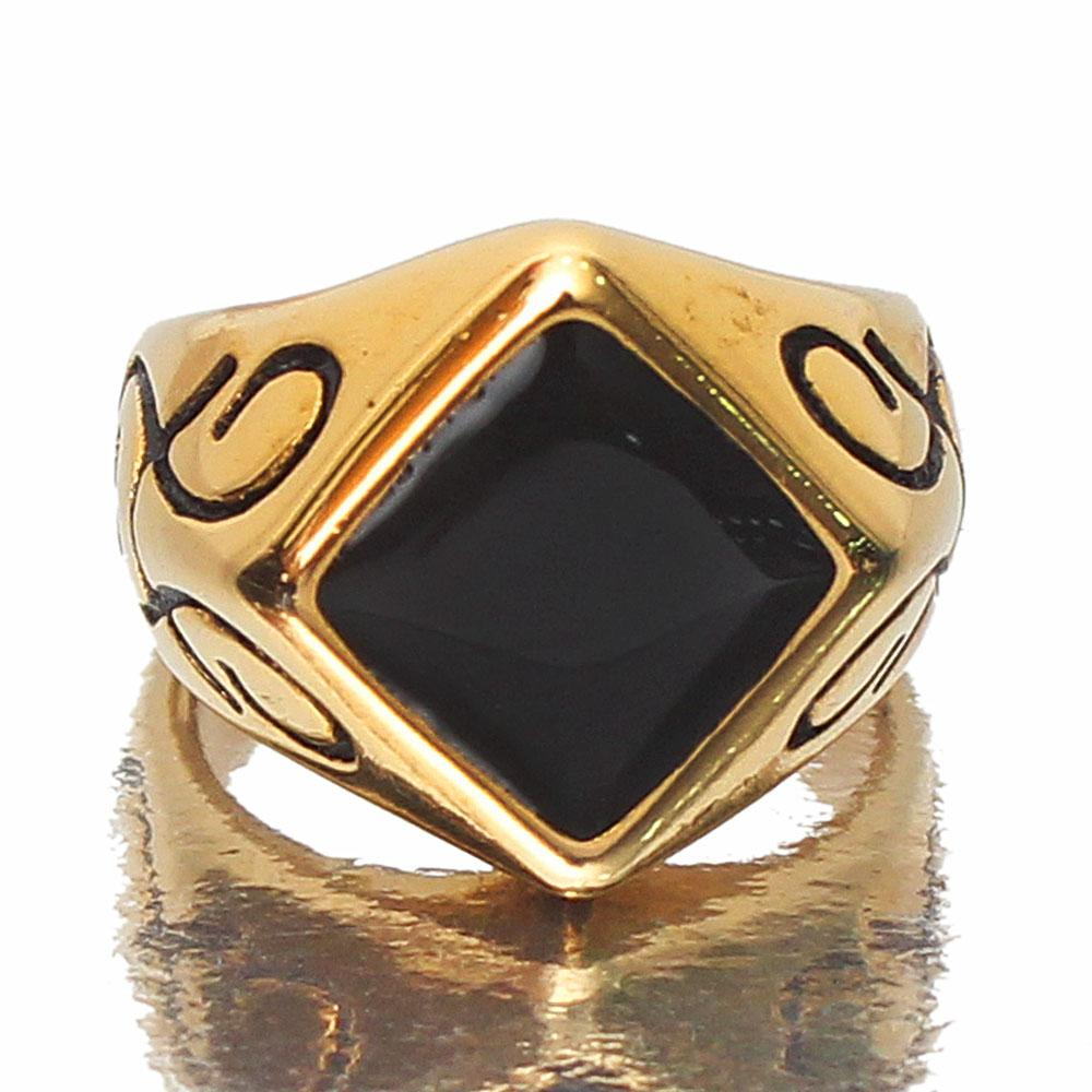 Black Stone Native Gold Ring