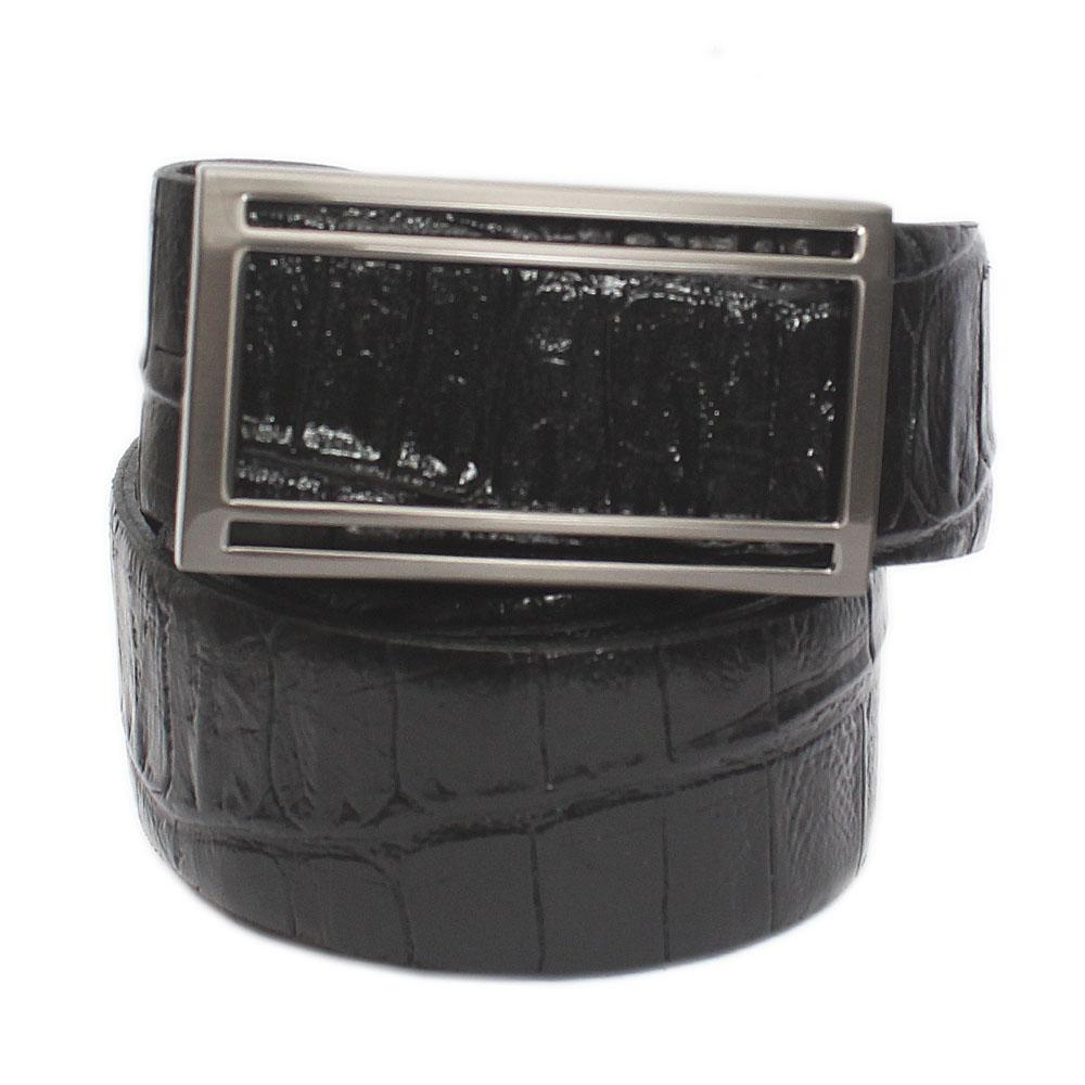 Black Croc Italian Leather Flat Belt L 49 Inches