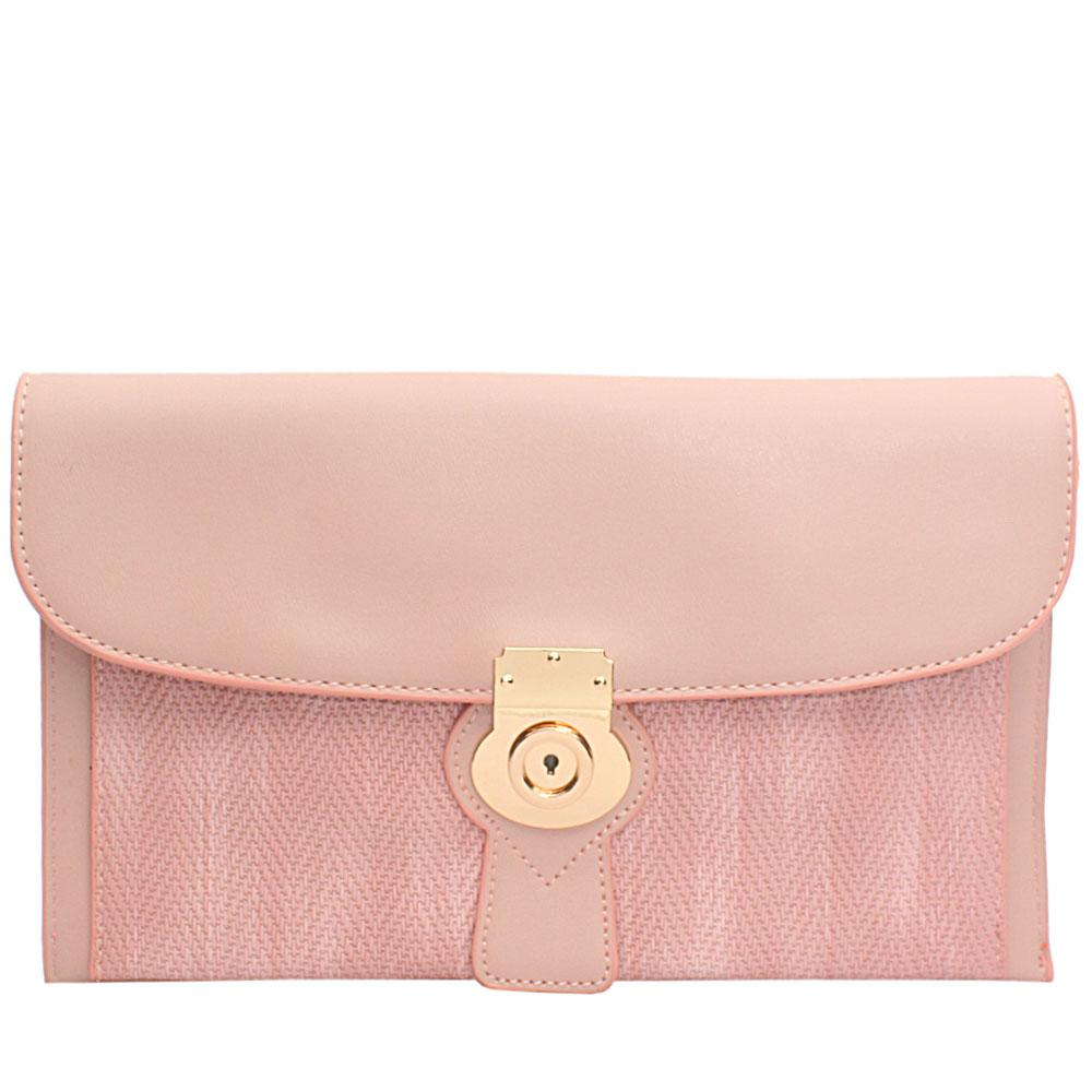 Pink Woven Miliano Style Leather Flat Purse