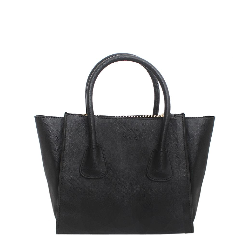 London Style Black Leather Tote Bag