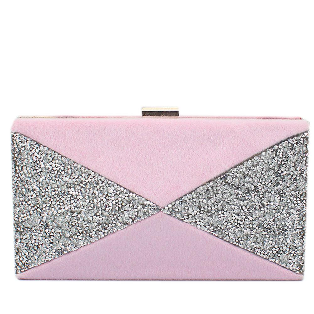 Pink Furry Glitz Premium Hard Clutch