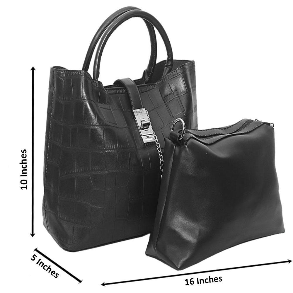 Black Aniston Croc Leather Tote Handbag
