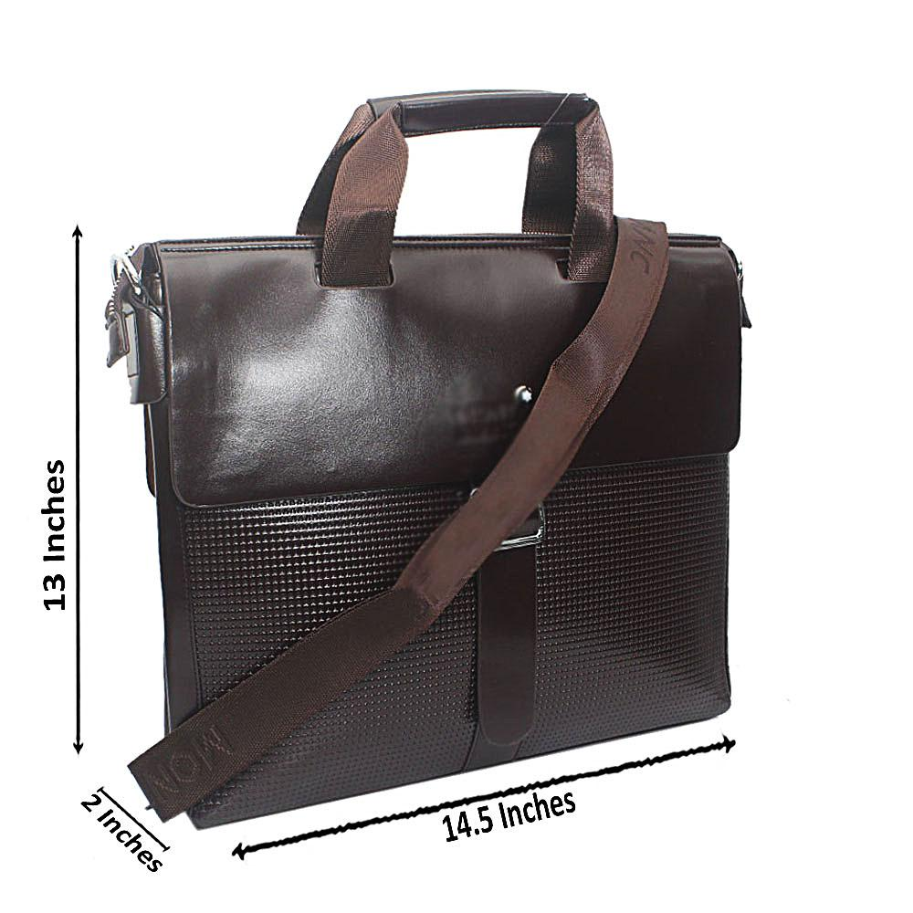 Coffee Brown Luxury Leather Messenger Bag