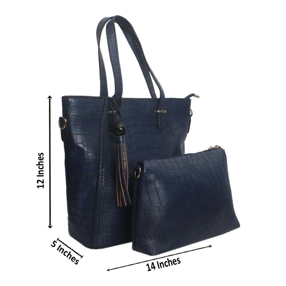 Blue Croc Leather Shoulder Bag