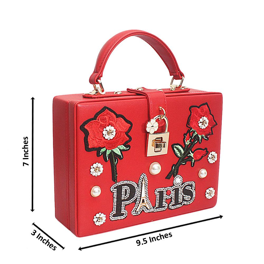 Paris Flora Red Leather Box Mini Handbag
