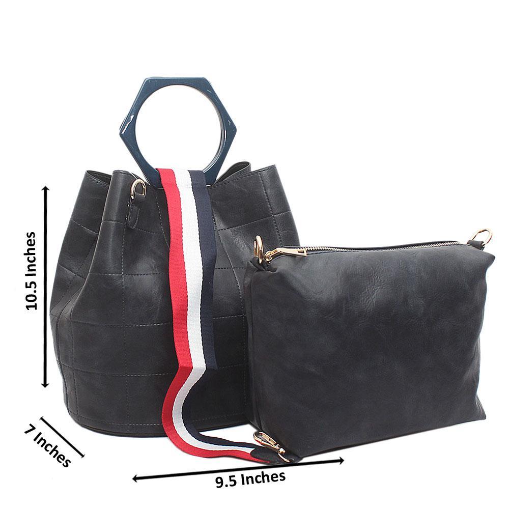 Navy Leather Medium Linda Bag