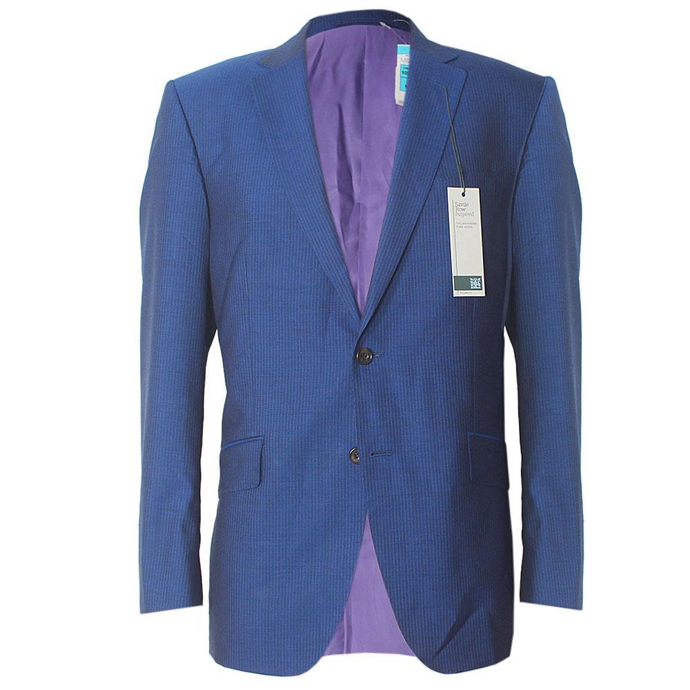 Savile Row Blue Italian Fabric Tailored Fit Men Suit Sz M