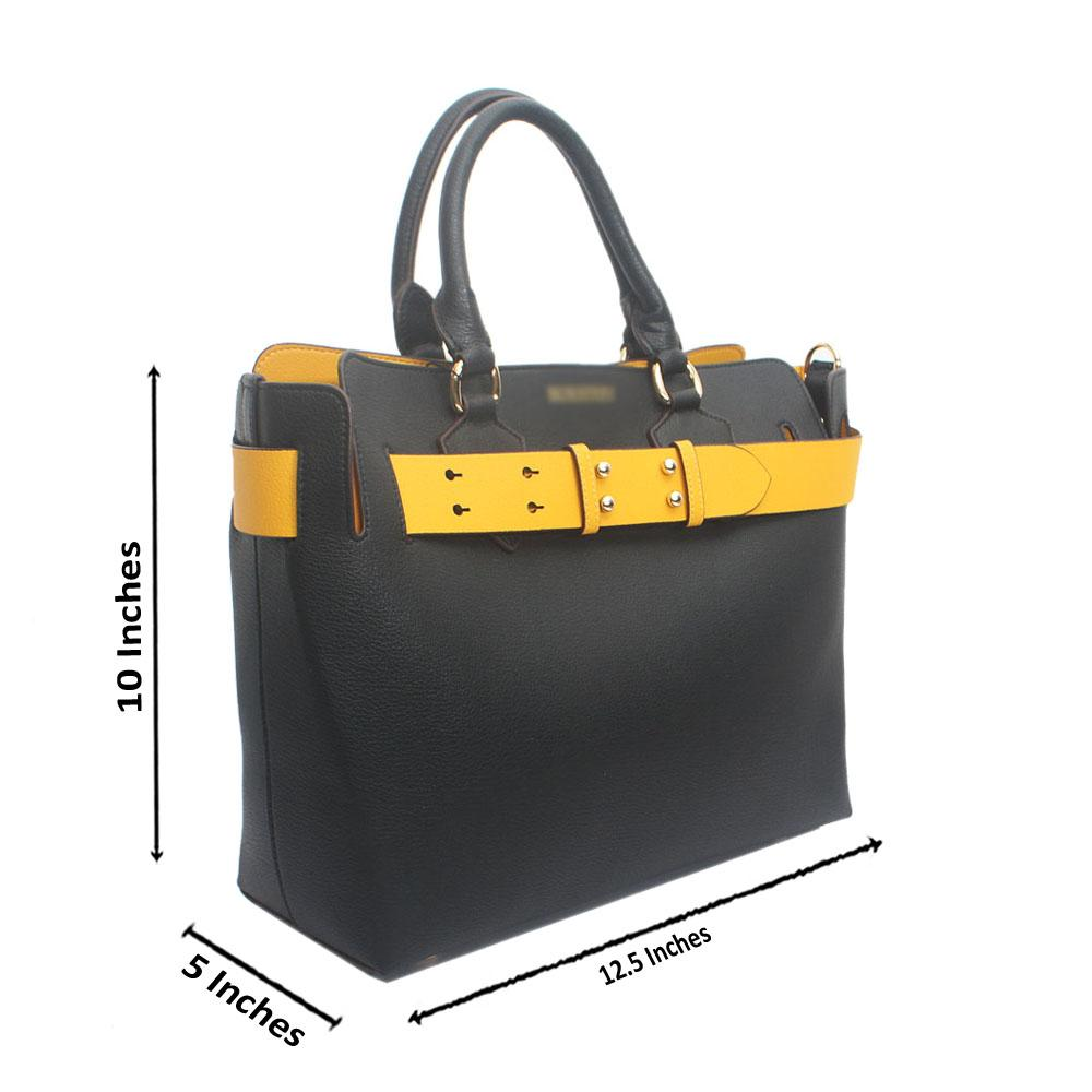 Black Yellow Belt Premium Batick Saffiano LeatherHandbag