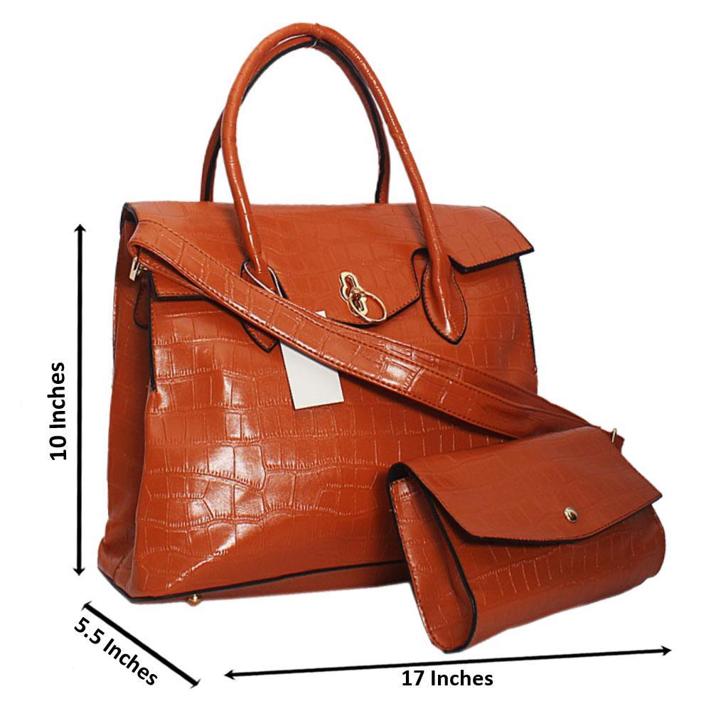 Brown Taylor Stone Croc Leather Tote Handbag