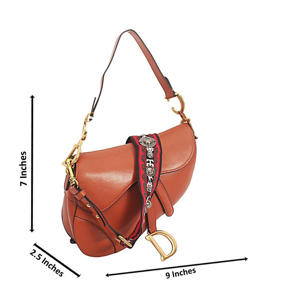 Brown Cowhide Leather Saddle Crossbody Handbag
