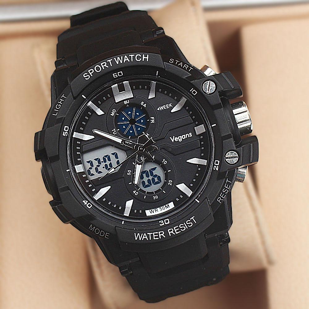 Vegans Black Dual Time Watch wt Extra Straps