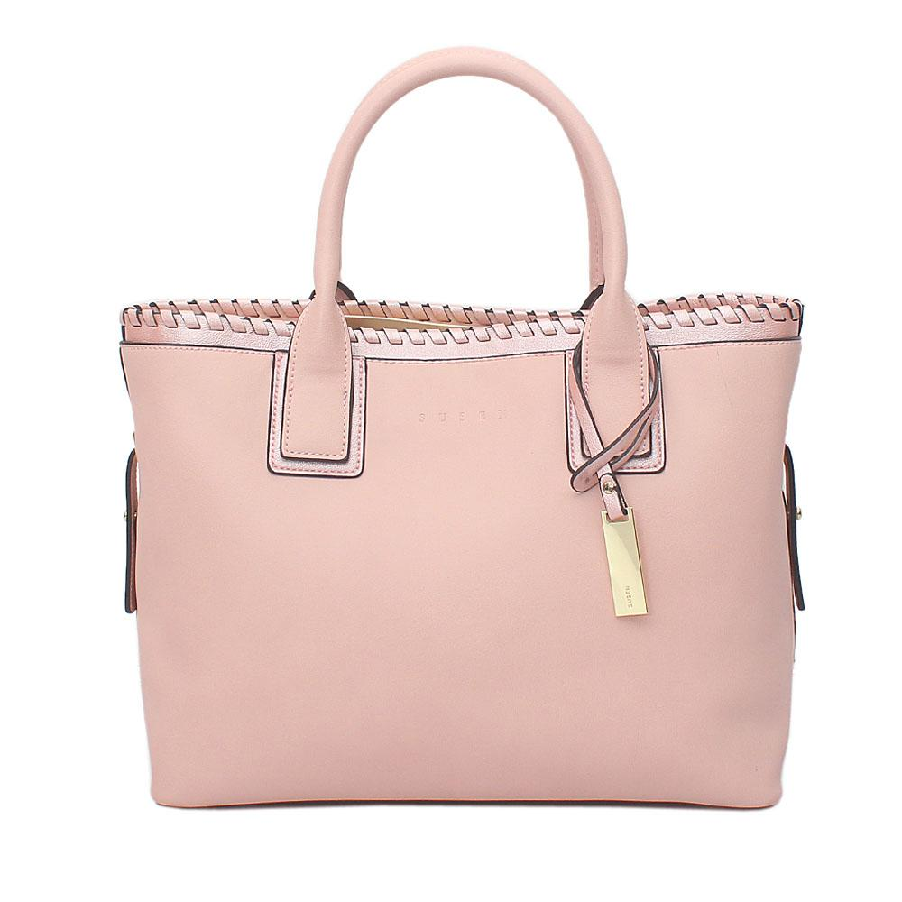 Susen Pink Leather Tote Bag