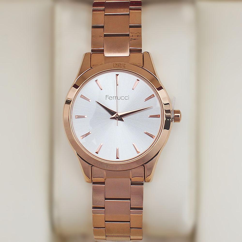 Ferrucci Classic Rose Gold Strap Ladies Watch