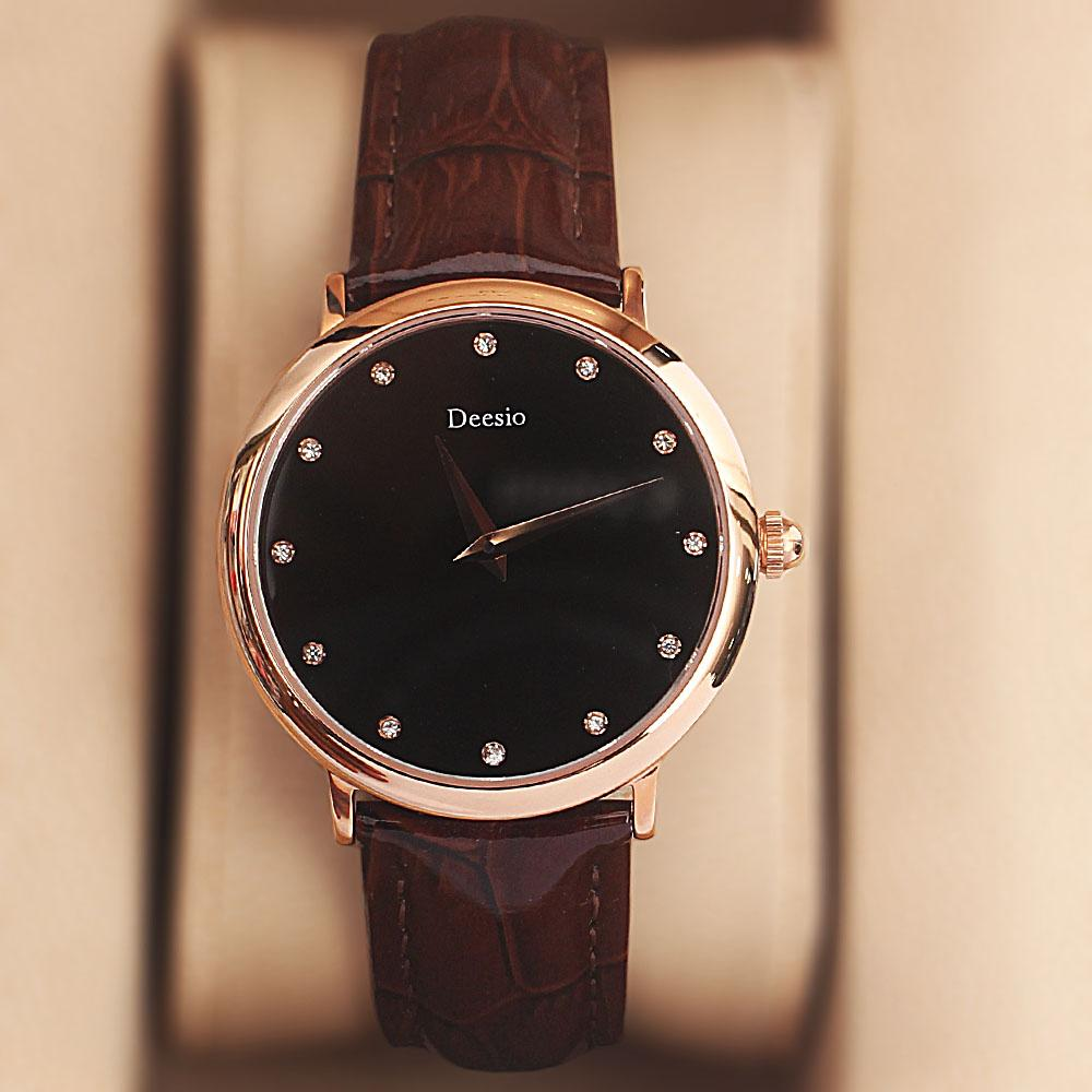 Deesio Brown Studded Leather Ladies Watch