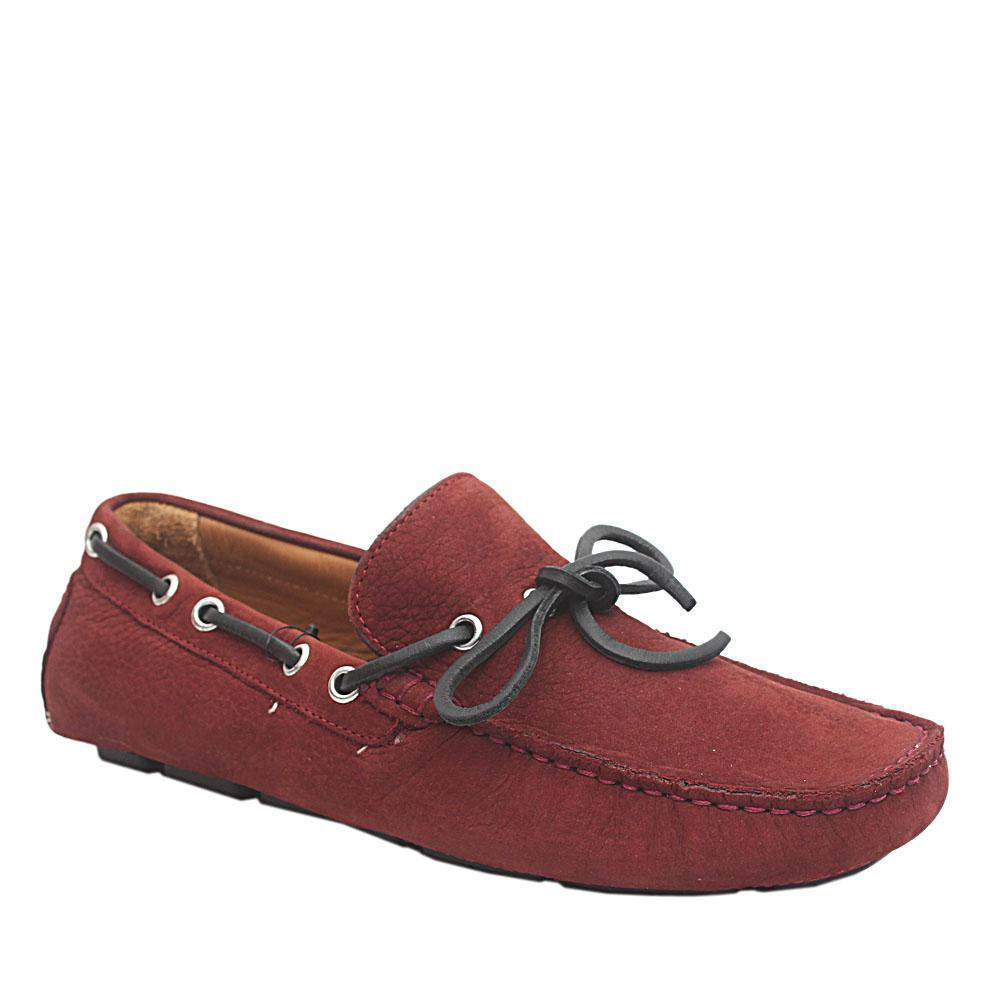 M & S Wine Nubuck Leather Men Loafers