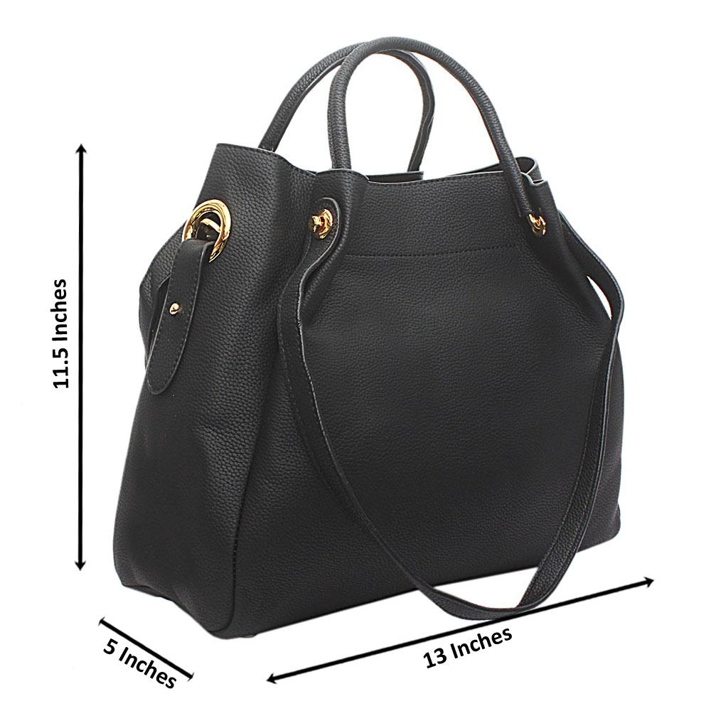 Black Calfskin Leather Handbag
