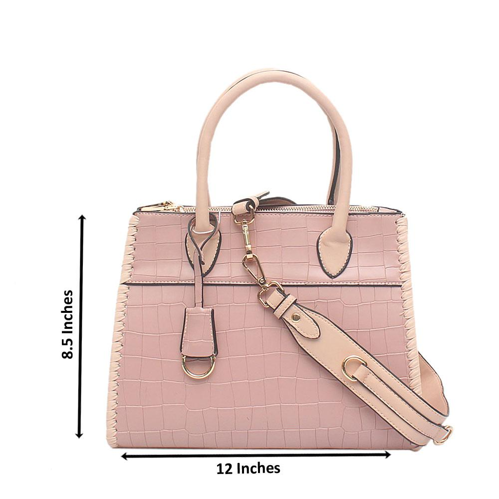 London Style Pink Croc Leather Tote Bag