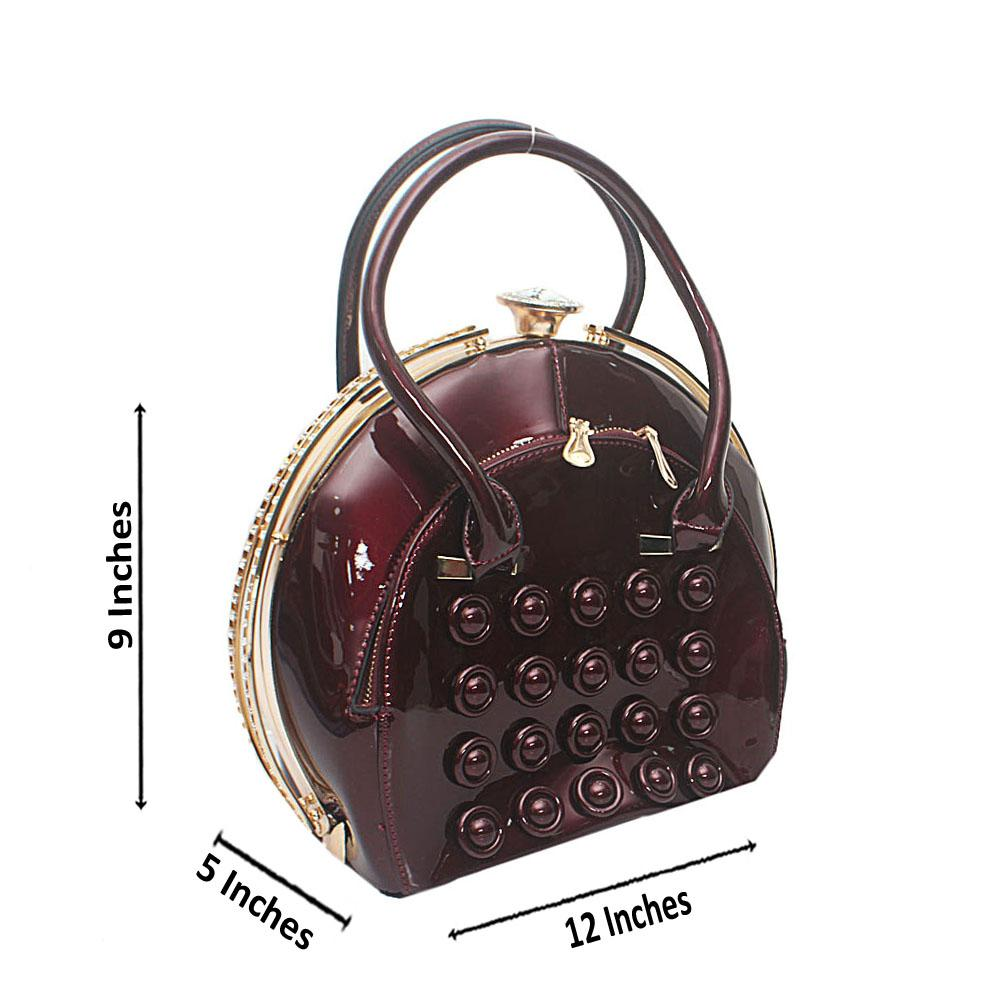 Wine Studded Patent Leather Handbag