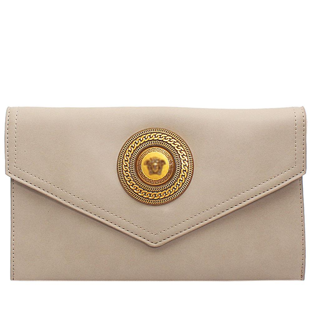 Khaki Adora Leather Flat Purse