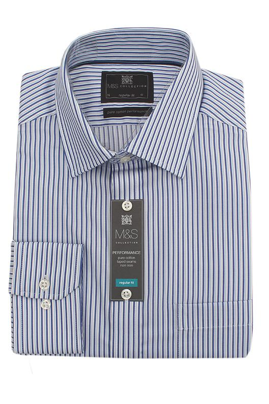 M&S Collection Blue White Striped Pure Cotton Regular Fit L/Sleeve Men Shir