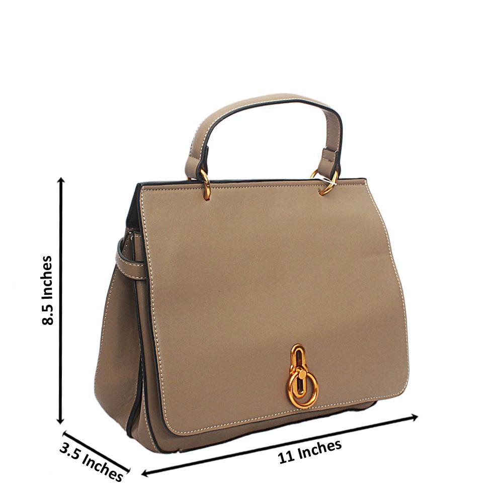Khaki Brown Leather Square Barbie Single Handle Bag