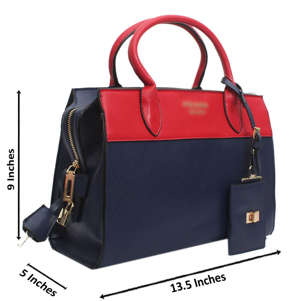 Red Navy Leather Medium Milano Handbag
