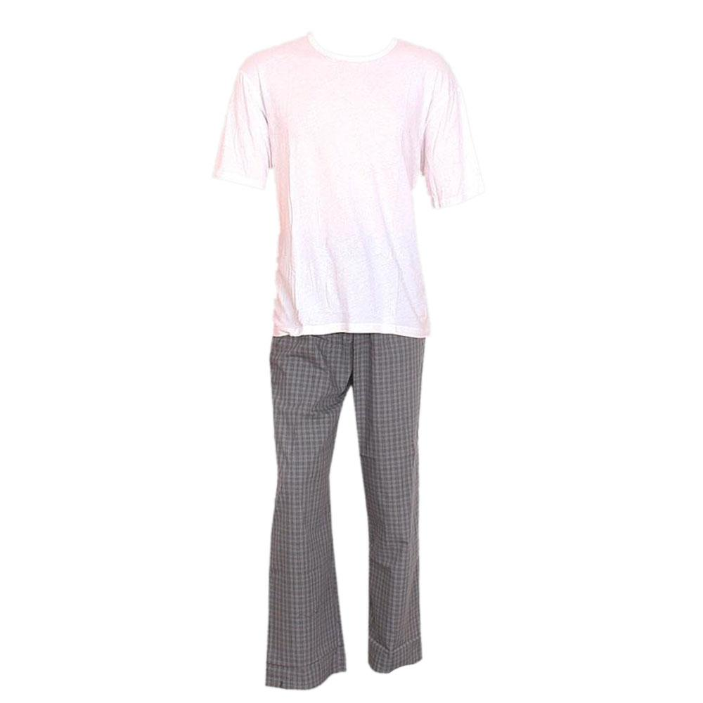 M & S Man Gray White S/Sleeve Men Pyjamas -L
